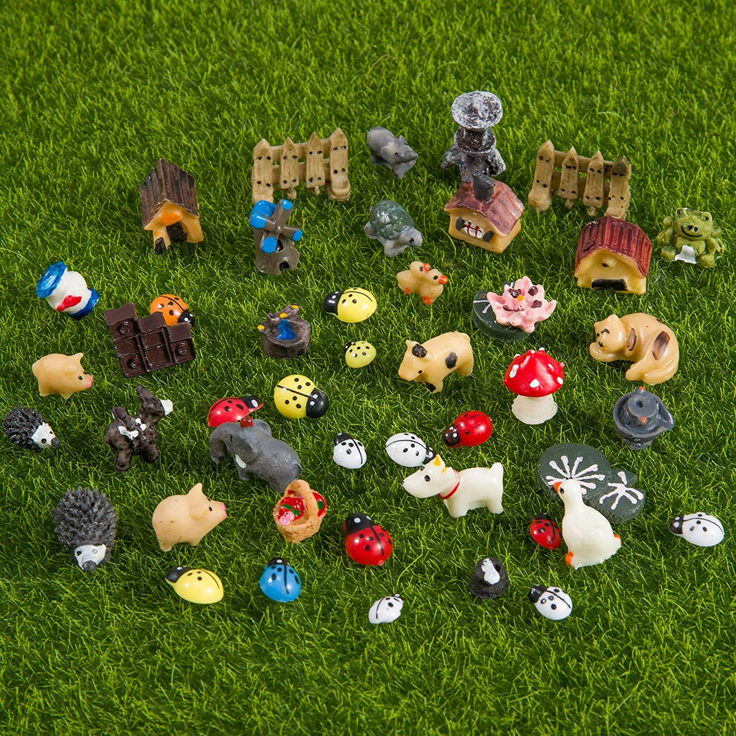 45pcs Mini Animals Miniature Ornament Kits- Resin Animal Themed Miniature Micro Landscape Accessories in 11 Series DIY Handmade Crafting Supplies for Miniature Garden Decorations