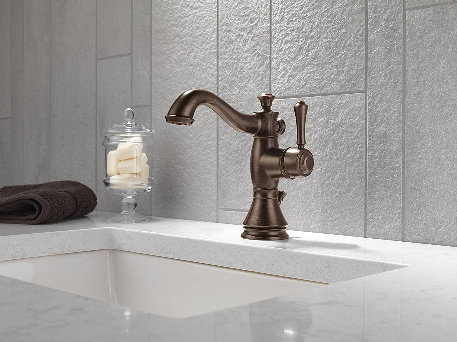 Delta Faucet 597LF-RBMPU Cassidy Single Hole-Single Handle 4-Inch ...
