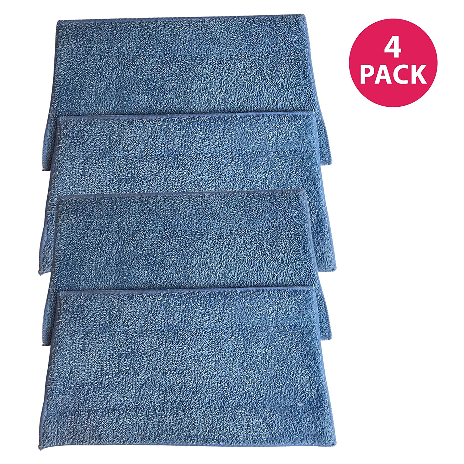 Think Crucial 4 Replacements for Euroflex EZ1 Monster Microfiber Steam Pads, Washable & Reusable