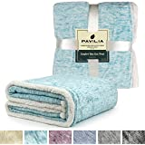 Premium Sherpa Melange Throw Blanket for Couch, Sofa by Pavilia | Soft, Fluffy, Plush, Warm, Cozy, Fuzzy Lightweight Microfiber, Luxury Modern Sea Blue Reversible TV Blanket | 50 x 60 Inches