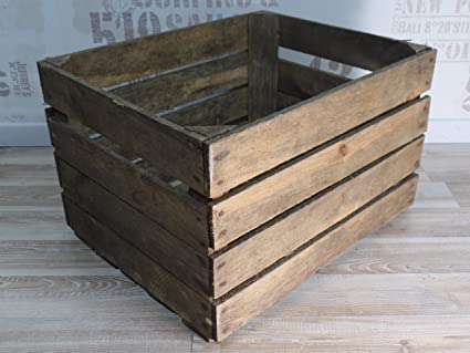 Sólido antiguo usado Caja de fruta - Más oscuro Modelo - Caja de vino - Shabby
