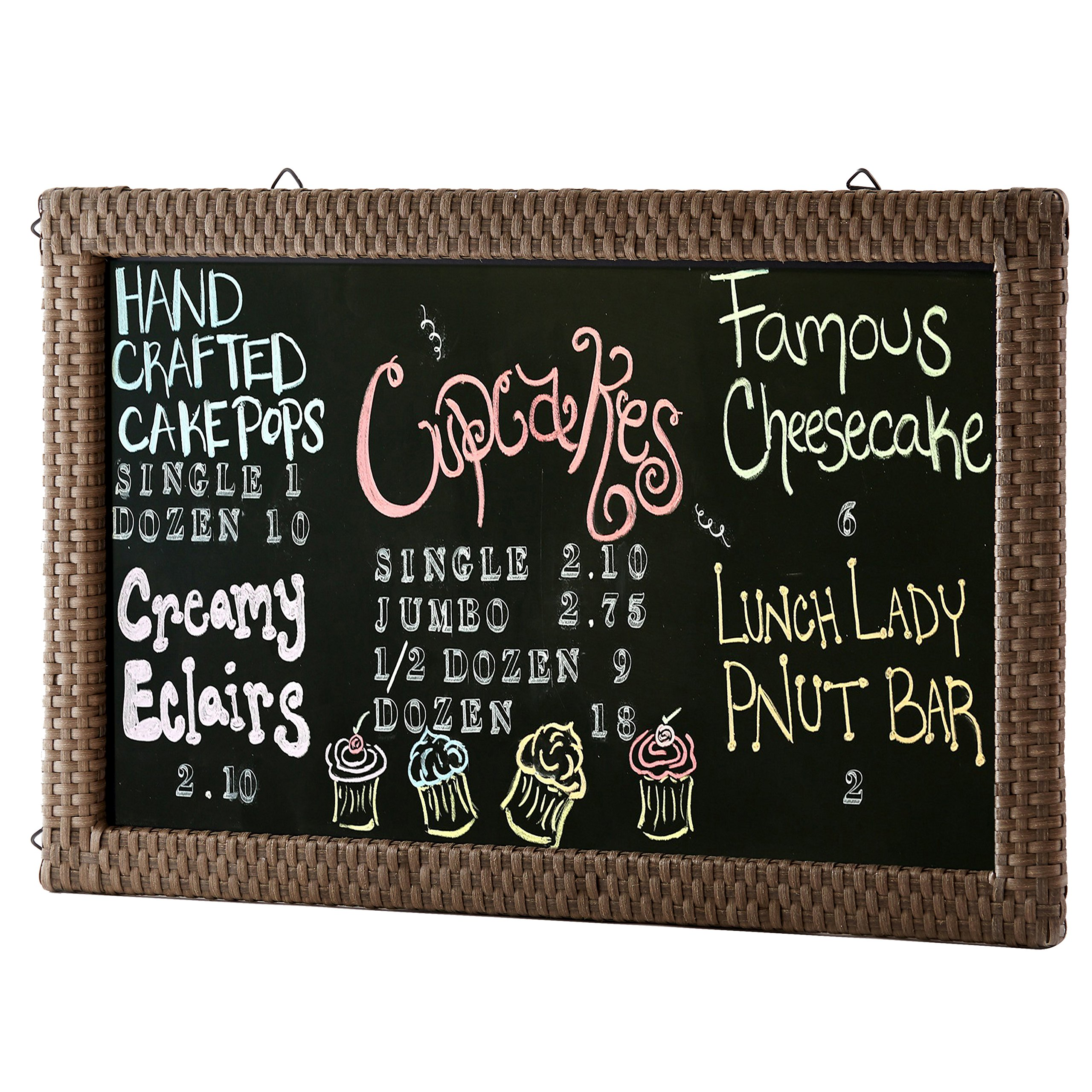 Wood Erasable Chalkboard Sign with Brown Woven Rattan Border Frame, Cafe & Restaurant Menu Board