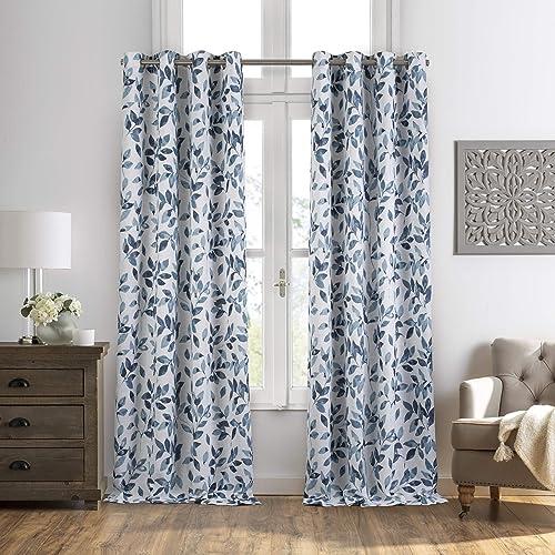 Elrene Home Fashions Avalon Botanical Floral Leaf Print Blackout Window Curtain Panel, 52 x 95 1, Indigo