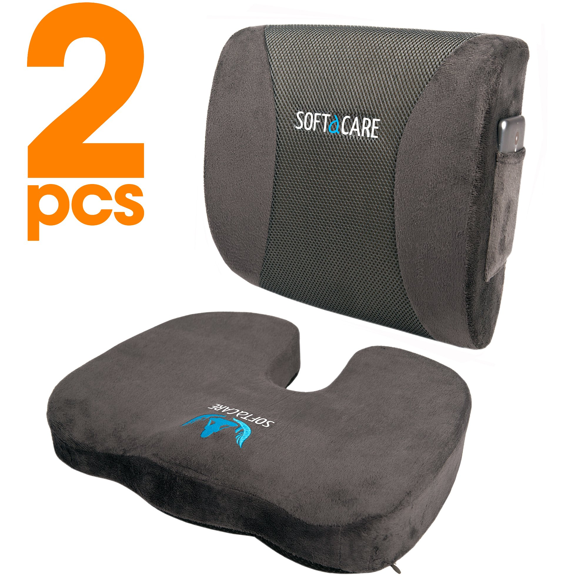 Details About Softacare Seat Cushion Coccyx Orthopedic Memory Foam And Lumbar Support Pillow