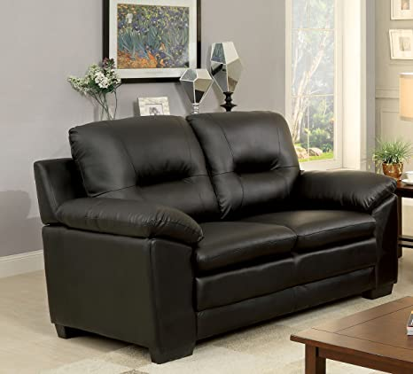 Fabulous Furniture Of America Stewart Leatherette Love Seat Black Gamerscity Chair Design For Home Gamerscityorg