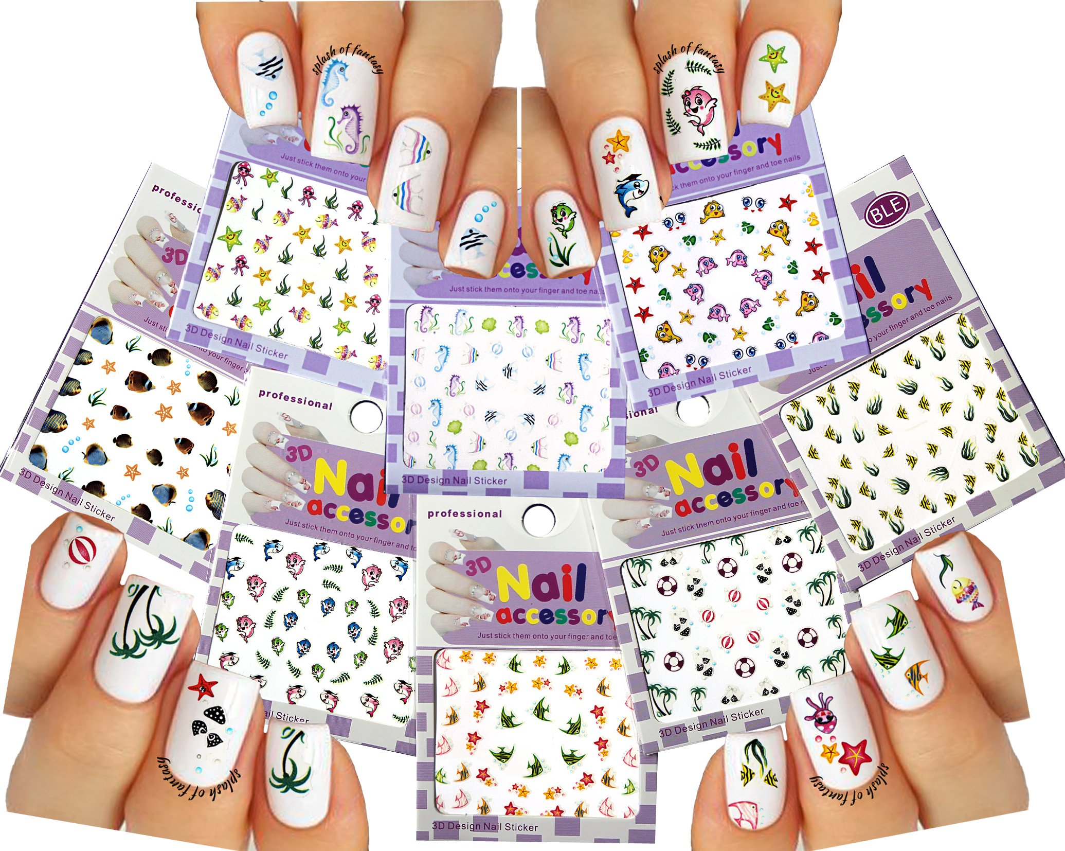 Amazon.com: Fun in the Sun Beach Theme Nail Art 3D Stickers Decals ...