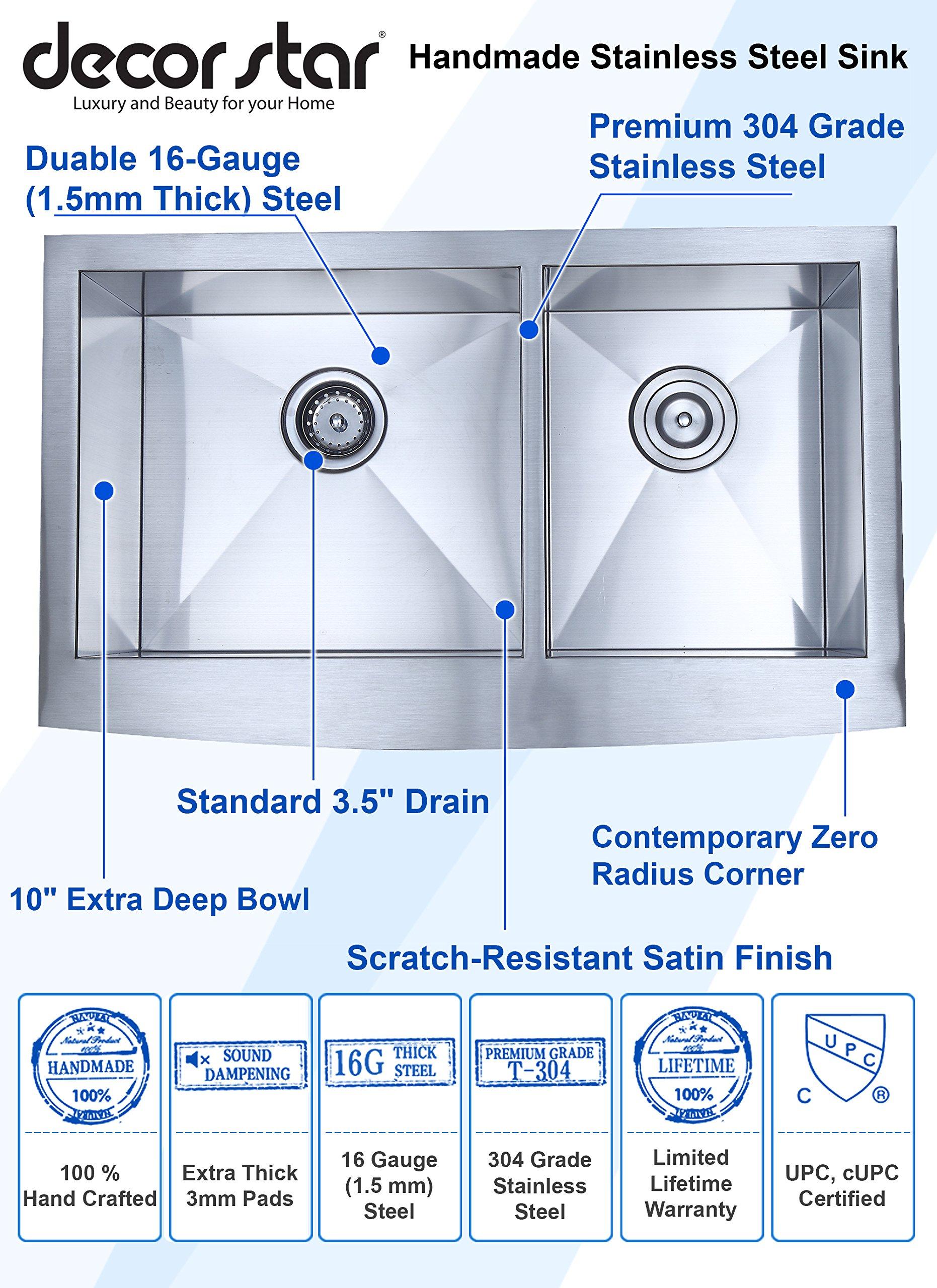 Decor Star F-002-Z 33 Inch x 20 Inch Farmhouse Apron 60/40 Offset Double Bowl 16 Gauge Stainless Steel Luxury Handmade Kitchen Sink cUPC Zero Radius by Décor Star (Image #2)