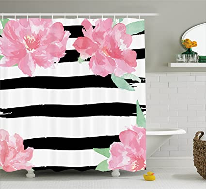Amazoncom Floral Shower Curtain By Ambesonne Watercolor Peony