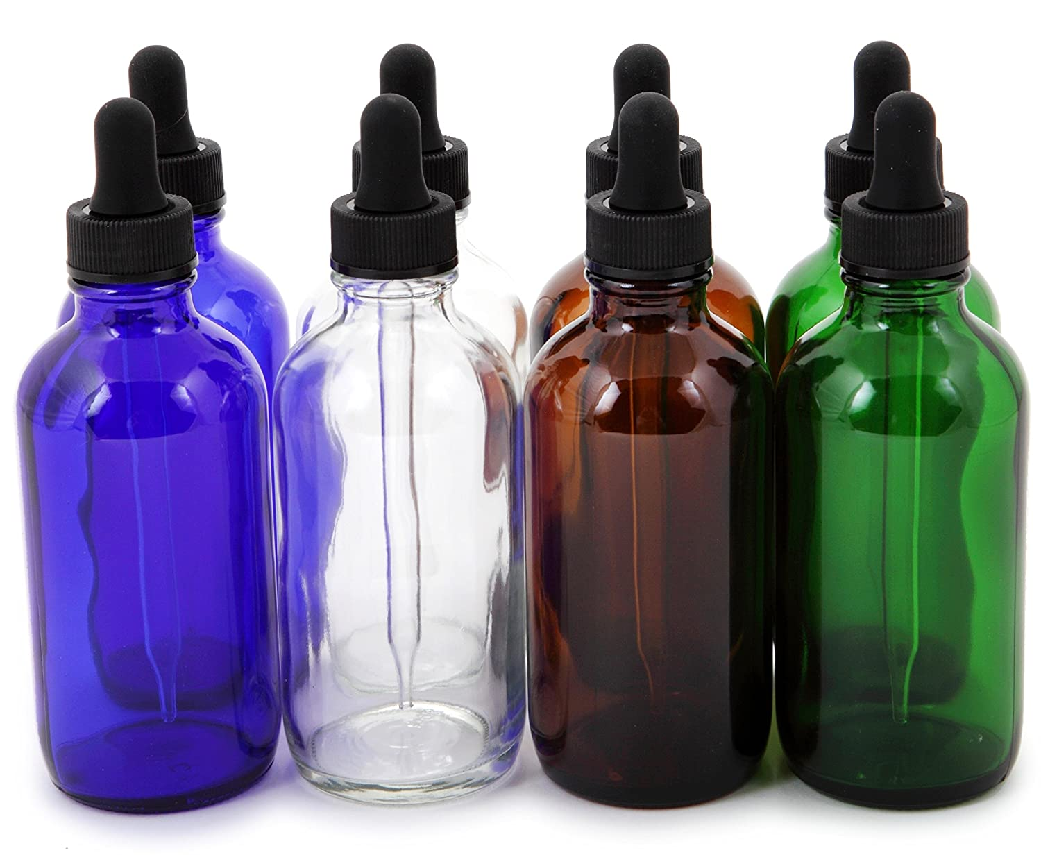 Vivaplex, 8, Assorted Colors, 4 oz Glass Bottles, with Glass Eye Droppers