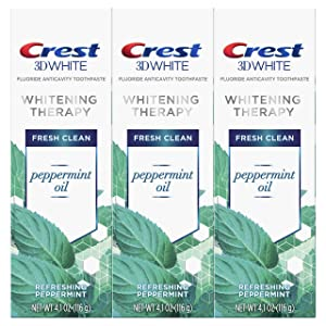 Crest 3D White Whitening Therapy Toothpaste, Peppermint Oil, 4.1 Ounce, Pack of 3