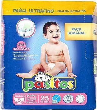 Pasitos - Pack semanal pañales bebés - Talla 5, 13-18 kg - 25 unidades - [ pack de 6]: Amazon.es: Salud y cuidado personal