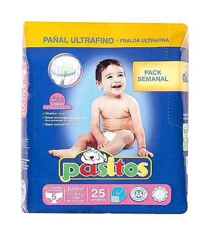 Pasitos - Pack semanal pañales bebés - Talla 5, 13-18 kg - 25