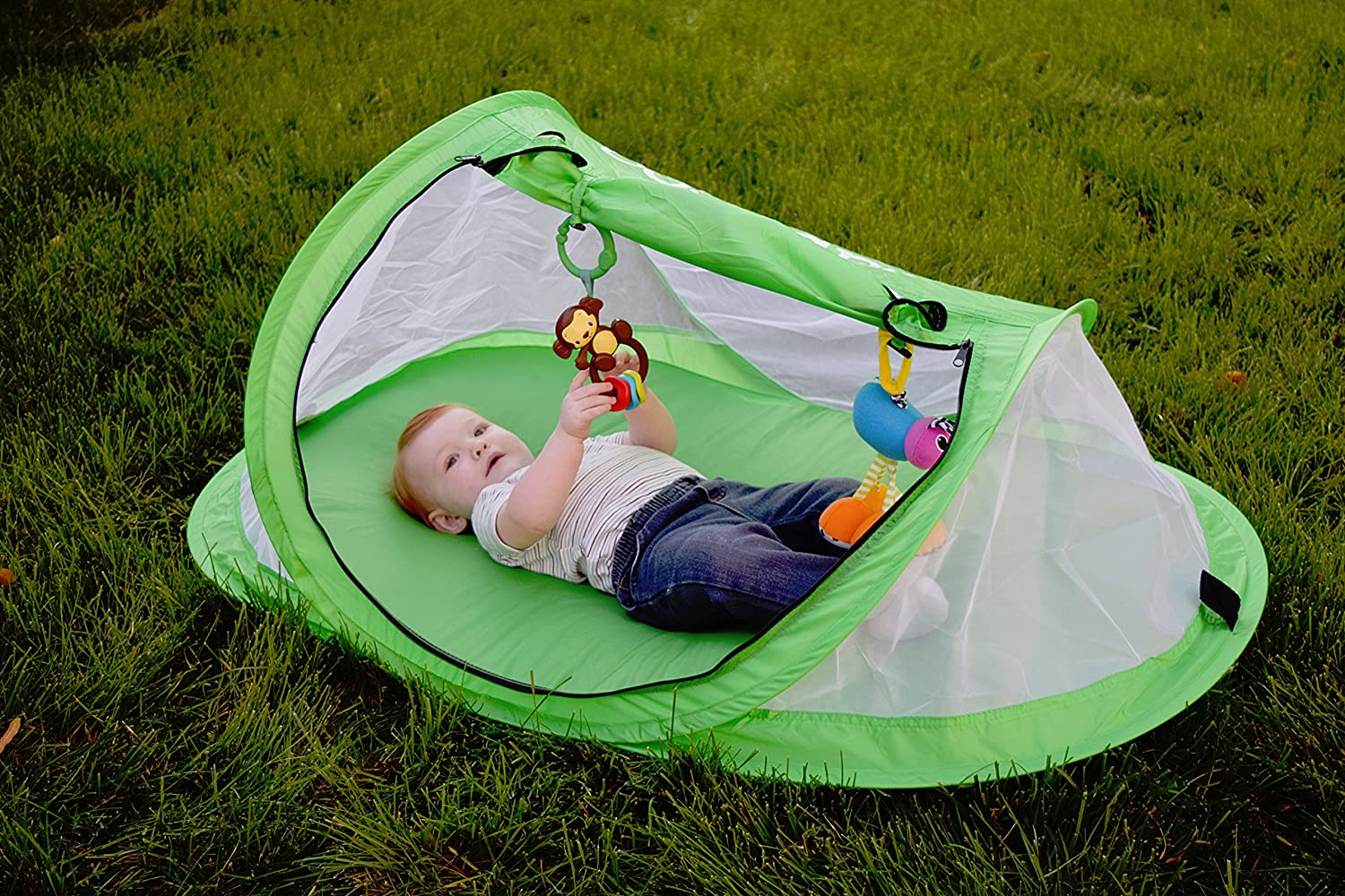 Amazon.com  Baby tent Pop-Up beach tent Instant travel tent for baby Protect from sun u0026 bugs (Green)  Baby & Amazon.com : Baby tent Pop-Up beach tent Instant travel tent for ...