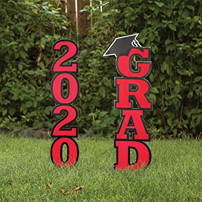 Red Class Of 2020 Yard Stake - Party Decor - 2 Pieces: Toys & Games