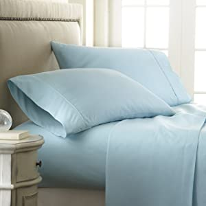 ienjoy Home Hotel Collection Embossed Checkered 4 Piece Sheet Set, California King, Aqua