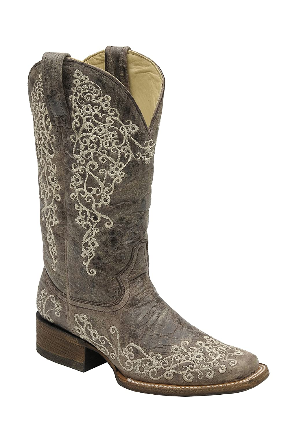 Corral Womens Brown Crater Bone Embroidery Square Toe Western Cowboy Boot B01M7X4H8H 5.5 B(M) US|Brown