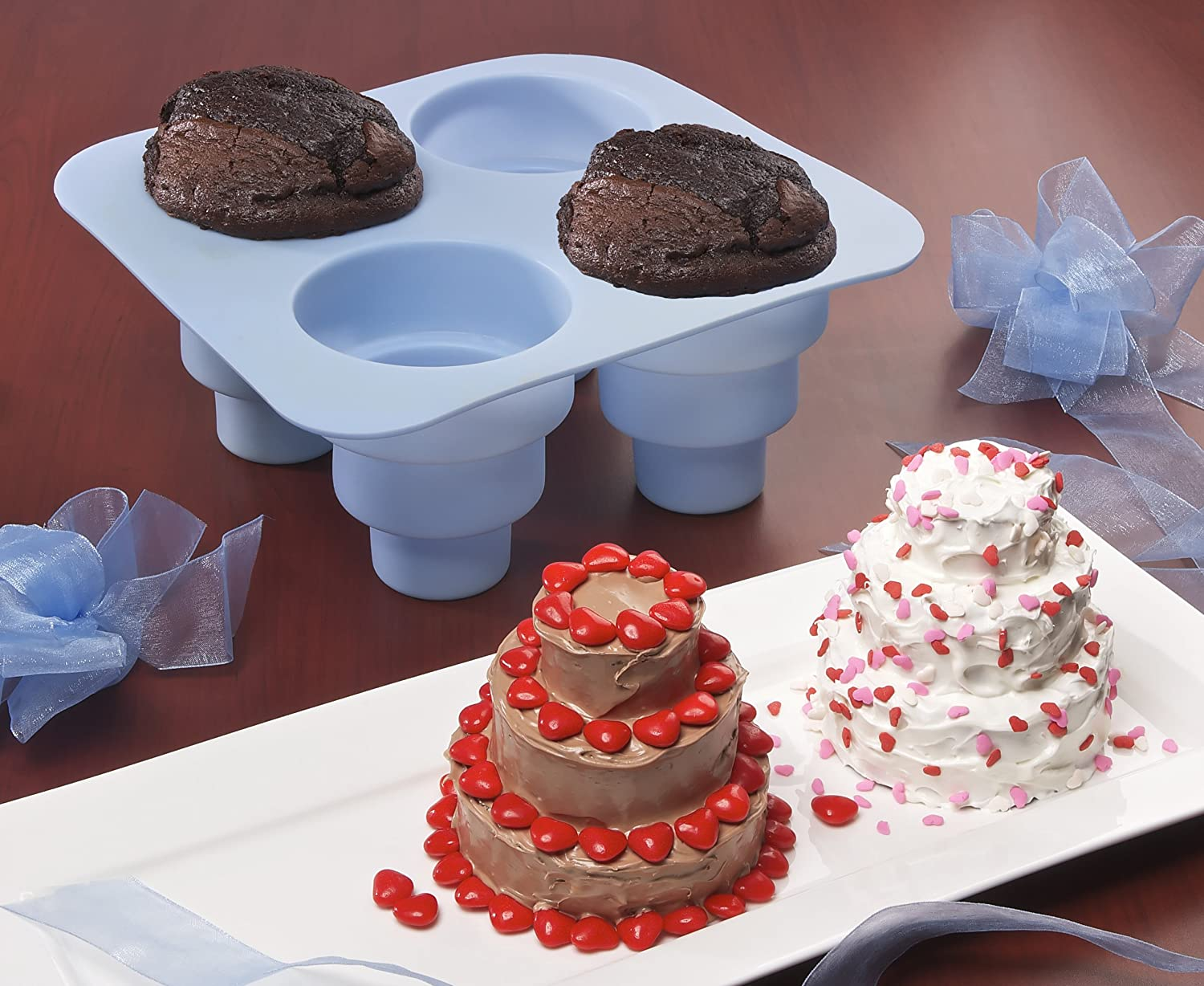 Details about  /2 pk Silicone 2 Tier Circle Mold Topsy Turvy Cake