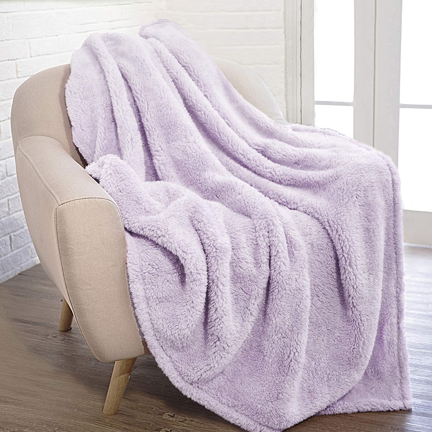 PAVILIA Fluffy Sherpa Throw Blanket Spring new work one after another Sofa Recommendation Plush Shagg Couch for