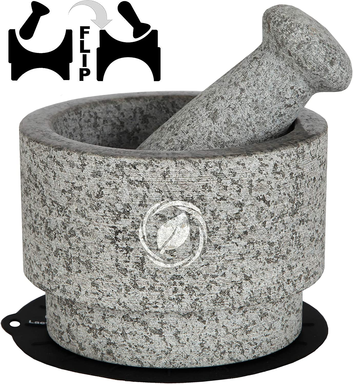 Mortar and Pestle Set Granite - 5.6 Inch, 2.2 Cup - Unique Double Sided - Pestle and Mortar Bowl Solid Stone Grinder - Guacamole Mortar and Pestle Large - INCLUDED: Silicone Lid/Mat and Spoon