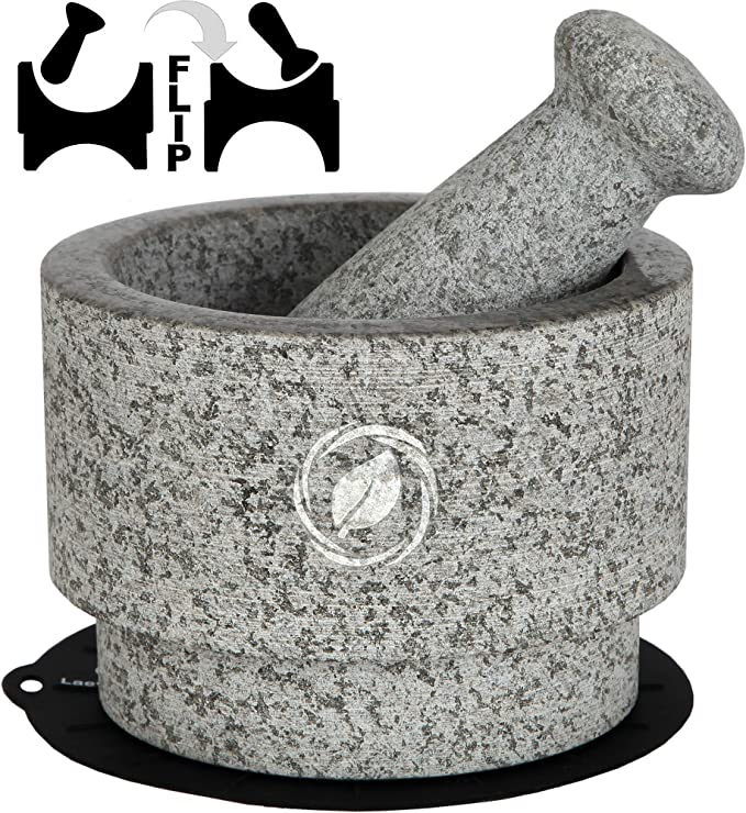 Amazon.com: Mortar and Pestle Set Granite - 5.6 Inch, 2.2 Cup - Unique Double Sided - Pestle and Mortar Bowl Solid Stone Grinder - Guacamole Mortar and Pestle Large - INCLUDED: Silicone Lid/Mat and Spoon: Kitchen & Dining
