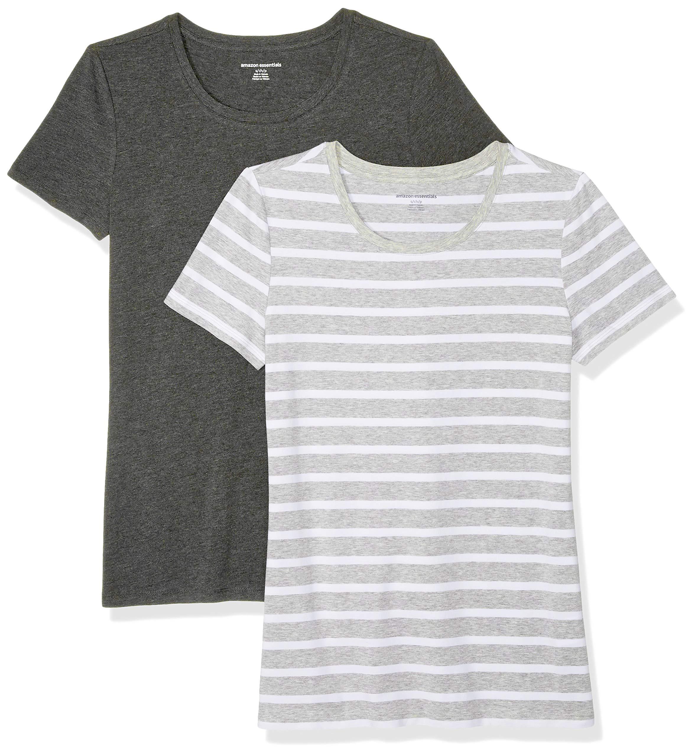 Amazon Essentials Women's 2-Pack Short-Sleeve Crewneck T-Shirt, Light Grey Mariner Stripe/Charcoal Heather, Large