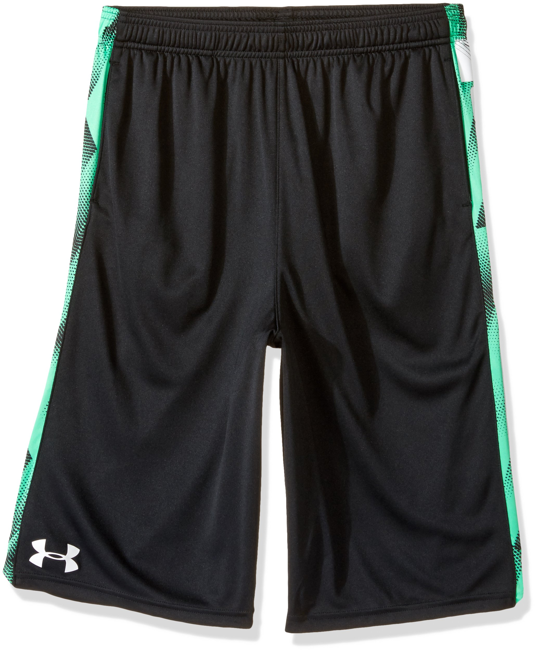 Under Armour Boys' Eliminator Printed Shorts, Black (005)/White, Youth Medium by Under Armour
