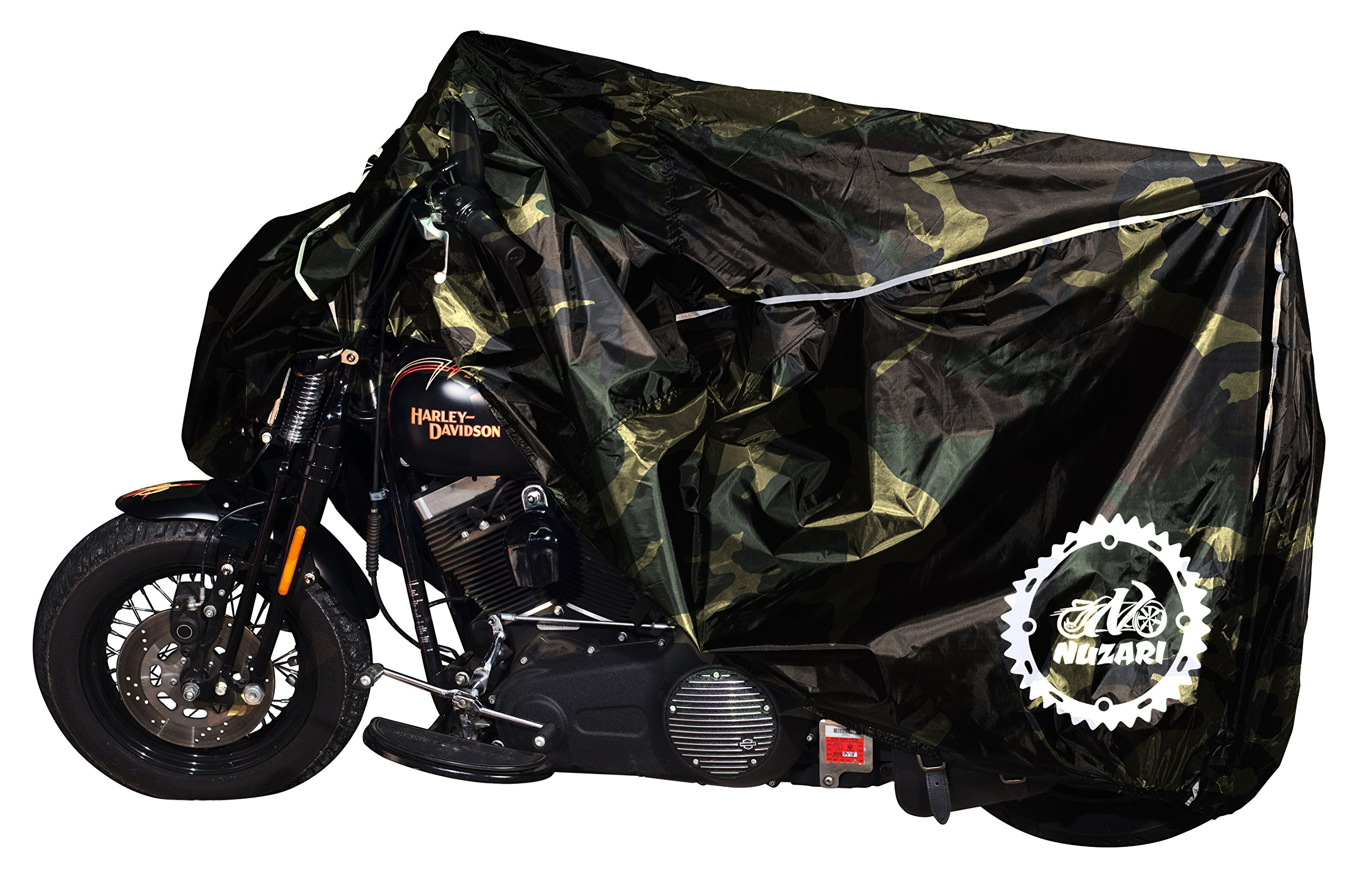 Premium Weather Resistant Covers Waterproof Polyester w/Soft Screen & Heat Resistant Shields.Motorcycle Cover has Lockable fabric, Durable & Long Lasting.Sportbikes & Cruisers (XX-large, Camouflage)