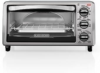 BLACK+DECKER 4-Slice Toaster Oven, Includes Bake Pan, Broil Rack & Toasting Rack, Stainless Steel/Black, TO1313SBD