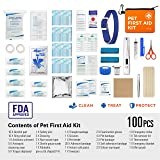 ARCA PET Cat & Dog First Aid Kit Home Office Travel Car Emergency Kit Pet Travel Kit - 100 Pieces with Thermometer and Bonus Mini First Aid Kit Pouch & Emergency Collar [Hard Case for