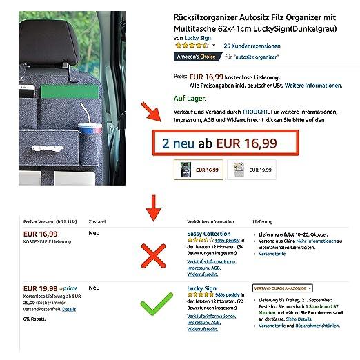 gris LuckySign Organizador para asiento trasero de coche con fieltro de bolsillo m/últiple 62 x 41 cm