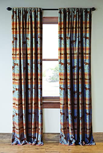 Carstens, Inc Carstens Moose Tracks Rustic Cabin Set of 2 Curtain Panels, Blue