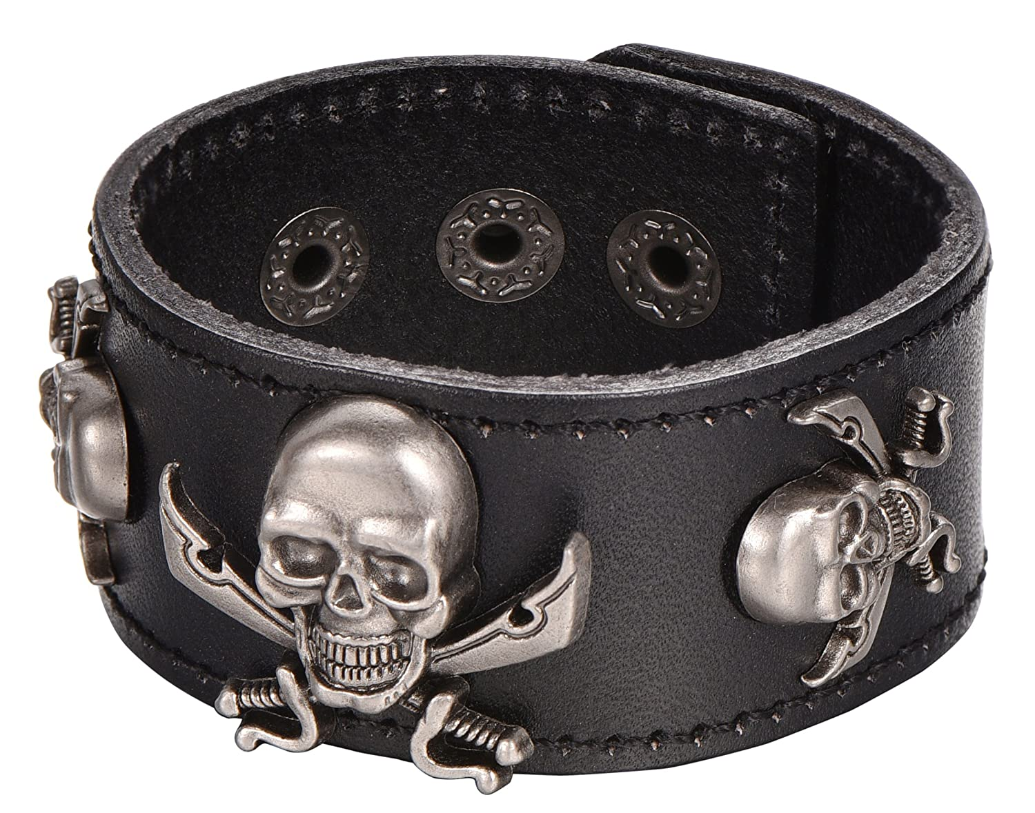Black Leather Pirate Skull Charms Cuff Wristband