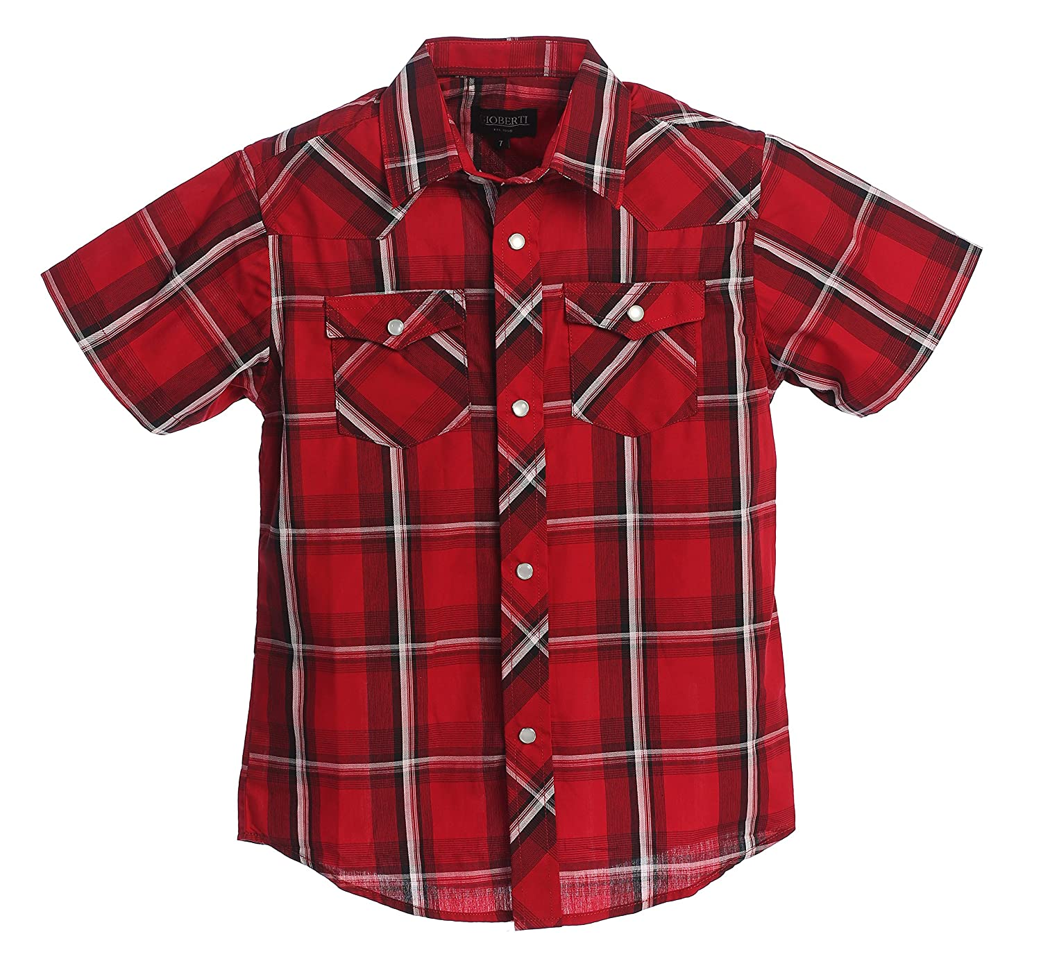 Kids 1950s Clothing & Costumes: Girls, Boys, Toddlers Gioberti Boys Casual Western Plaid Pearl Snap Short Sleeve Shirt $80.00 AT vintagedancer.com