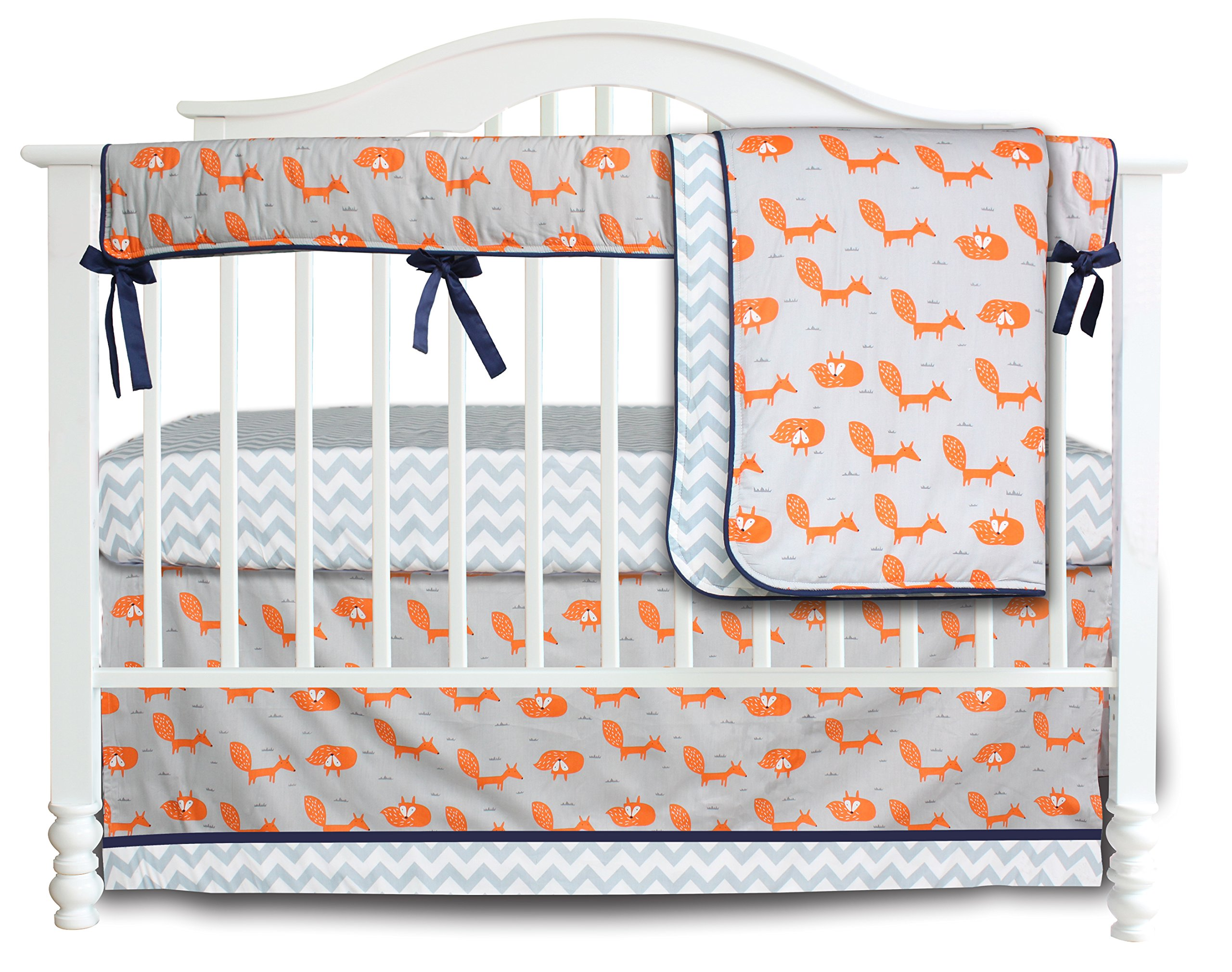3 Pieces Set Fox Grey Chevron Crib bedding set Baby Crib Nursery Bedding Set (Fox)
