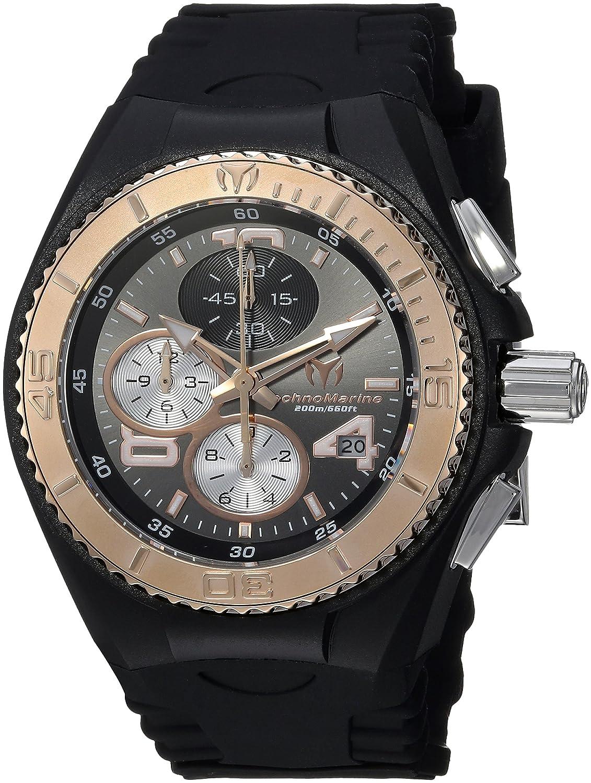 Technomarine Women s Cruise Stainless Steel Quartz Watch with Silicone Strap, Black, 26 Model TM-115100