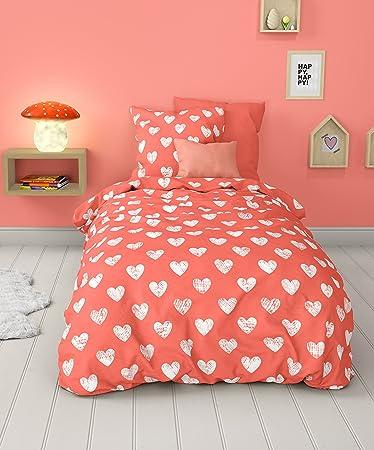 Schön Aminata Kids U2013 Vintage Bettwäsche 135x200 Cm Kinder Mädchen Herz Baumwolle  + Reißverschluss Rot Weiß Kinderbettwäsche