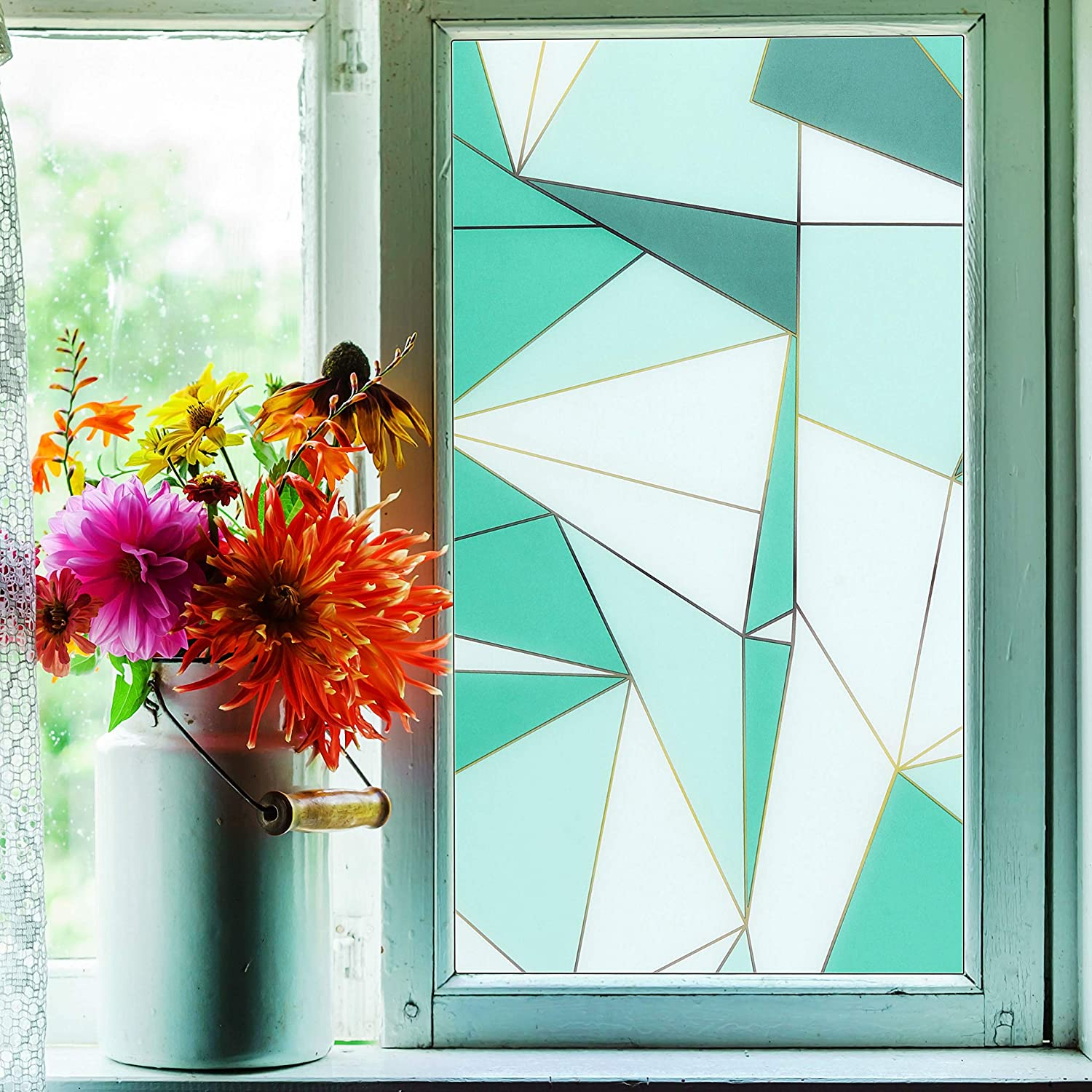 Privacy Window Film, Translucent Static Cling Treatment Frosted Window Sticker w/ Geometric Patterns - Decorative Opaque Glass Effect for Home Security, Heat Control, UV Prevention(Blue, 17.7x78.7in)