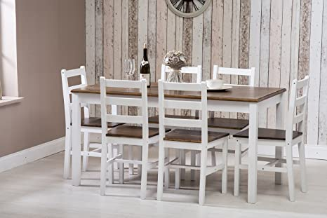 Outstanding Wooden Dining Table And 6 Chairs Set Dark Pine And White Onthecornerstone Fun Painted Chair Ideas Images Onthecornerstoneorg