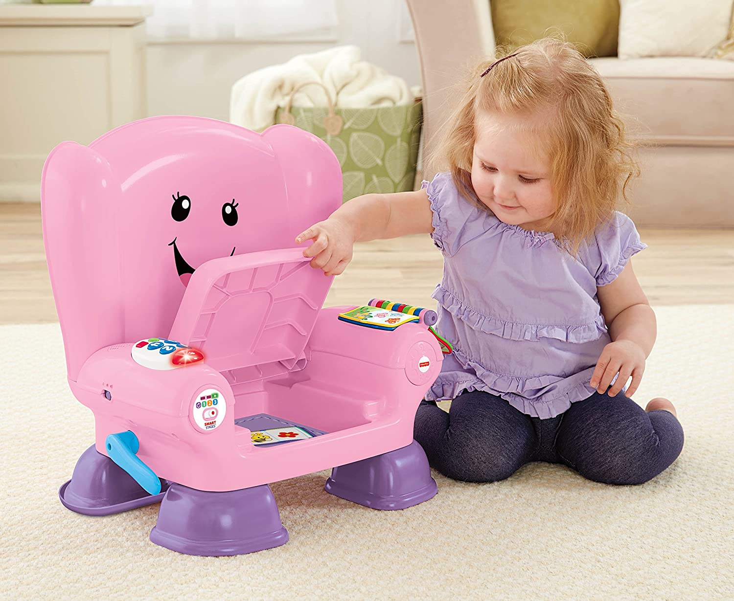 Laugh /& Learn Fisher-Price Chaise /Éveil Progressif Version Anglaise Smart Stages Chair