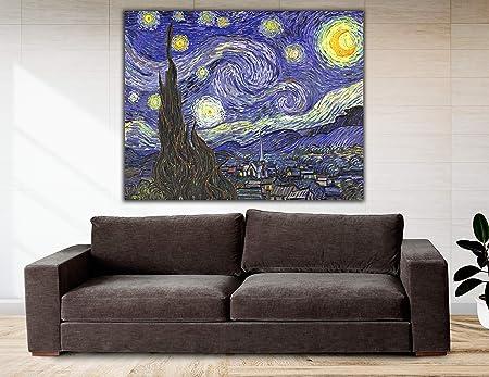 Cuadro Lienzo La Noche Estrellada de Vicent Van Gogh - 80x63 cm - Lienzo de Tela Bastidor de