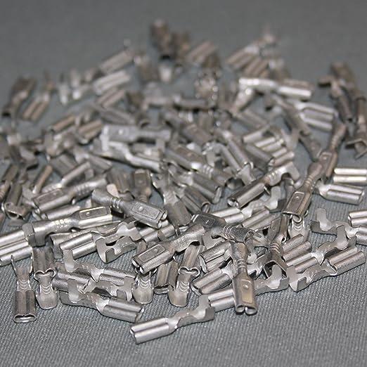 Steckmaß 2,8 mm Kabelschuhe,Steckdicke 0,5 mm. 100 Flachstecker rot