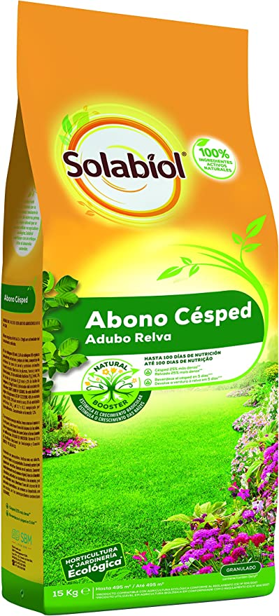Solabiol Abono Cesped - Abono equilibrado para cesped con materias primas de origen 100% natural y estimulante Natural Booster. Formato 15kg: Amazon.es: Jardín