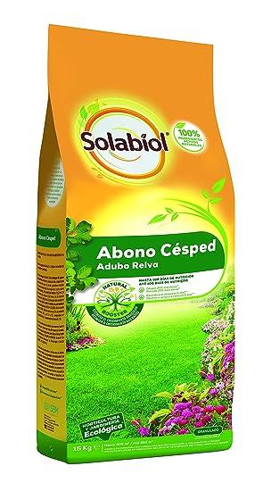 Solabiol Abono Cesped - Abono equilibrado para cesped con materias primas de origen 100% natural y estimulante Natural Booster. Formato 15kg: Amazon.es: ...