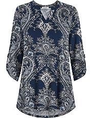 Esenchel Women's 3/4 Roll Sleeve Tunic Top Notch Neck Blouse