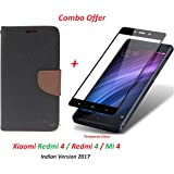 Mi Redmi 4 / xiaomi redmi 4 / Redmi 4 (COMBO OFFER) Flip Cover Case Wallet Style ( Black Brown ) + 2.5D curved 3D Edge to Edge Tempered Glass Mobile Screen Protector ( Black ) BY YuniKase