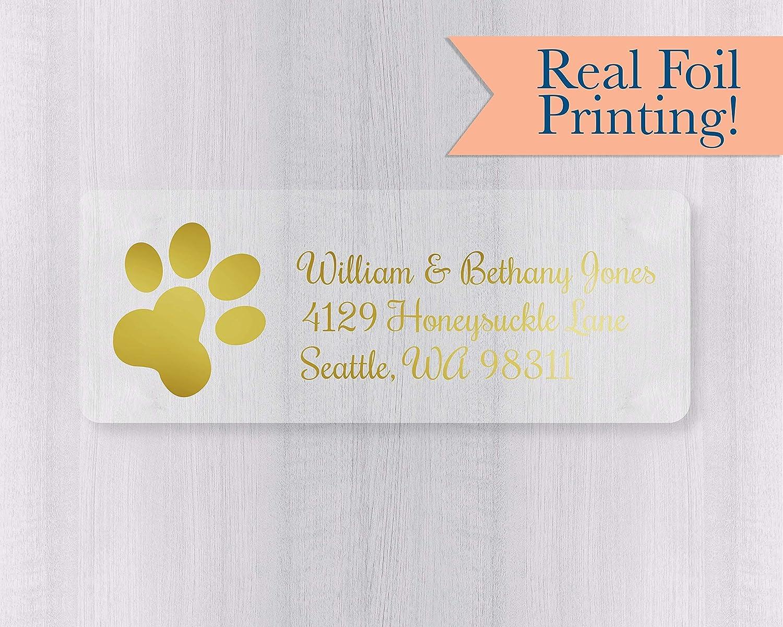 Amazon com foiled paw print clear address labels 351 cf handmade