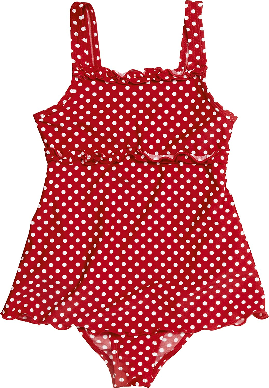 03cb3ee4ac62 Playshoes Mädchen Bademode Badeanzug mit Rock Punkte mit UV-Schutz,  Oeko-Tex Standard