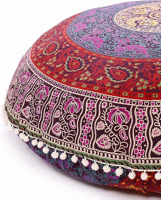 "32/"" Large Star Mandala Pillow Cover Round Floor Decor Cushion Ottoman Pouf Cover"