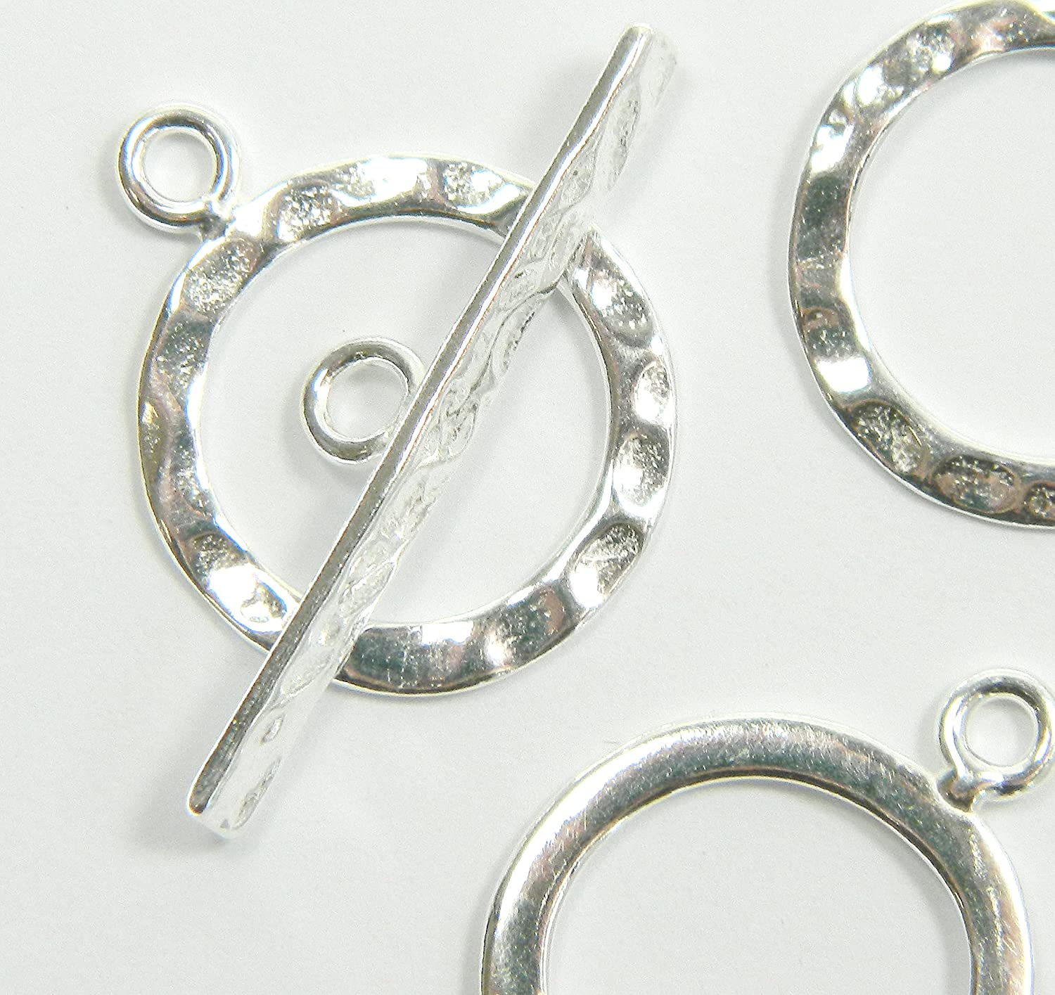New 14mm Ring with 24mm Bar 925 Sterling Silver Hammered Toggle Clasp 1 Set