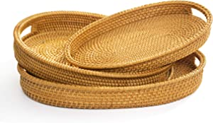 Wicker Bread Basket Woven Rattan Bread Basket Food Serving Display Storage Basket Fruit Candy Cake Or Storage for Key Holder Food Storage Organizing Kitchen Counter Wall Decorative Natural Set of 3